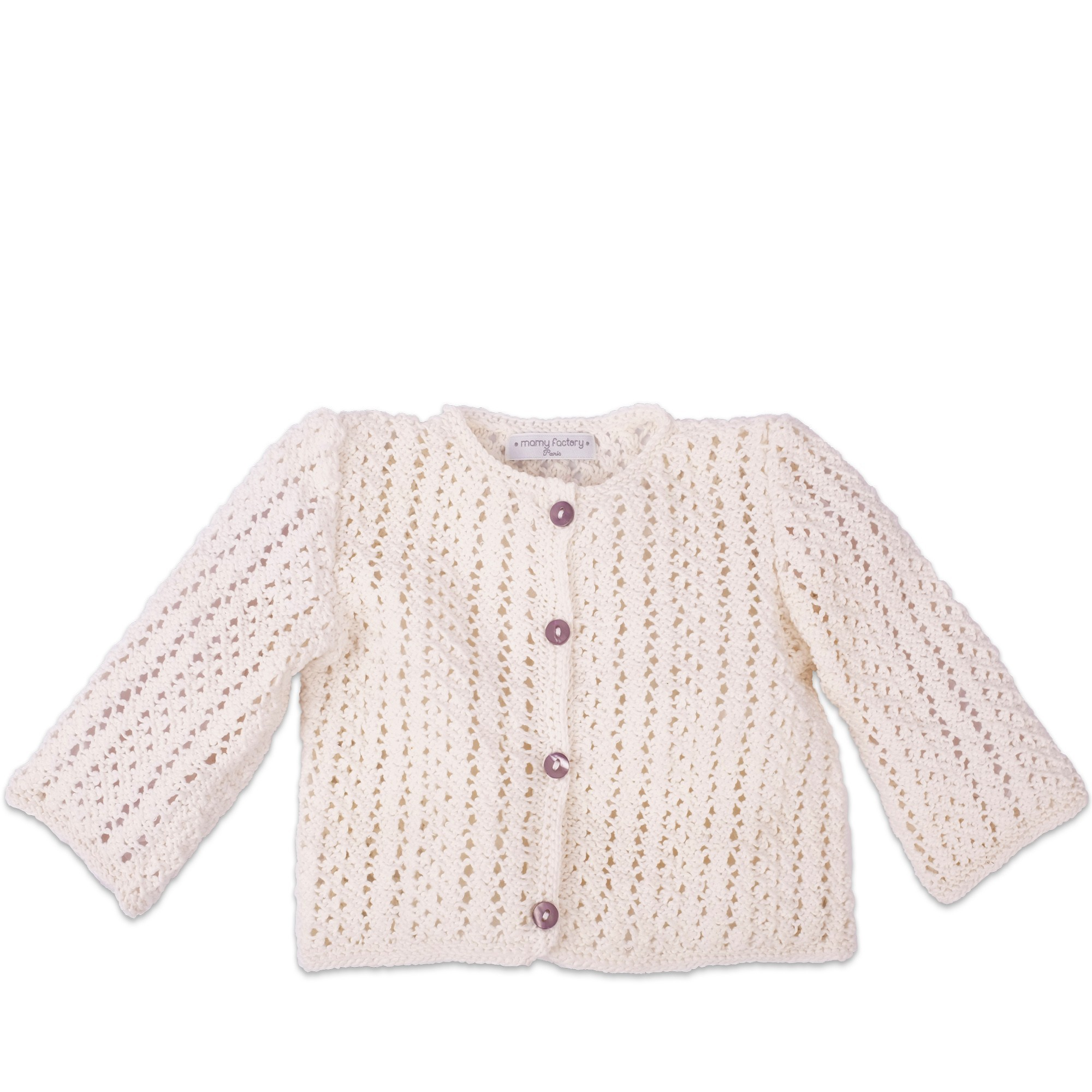f765f1ea29 Mamy Factory cardigan- Ivory cardigan for babies made from cotton