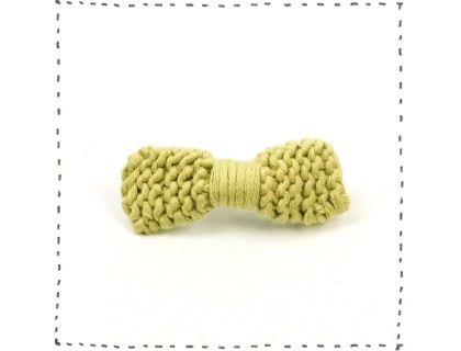 Hair clip knitted bow - Pistachio green color - made from cotton