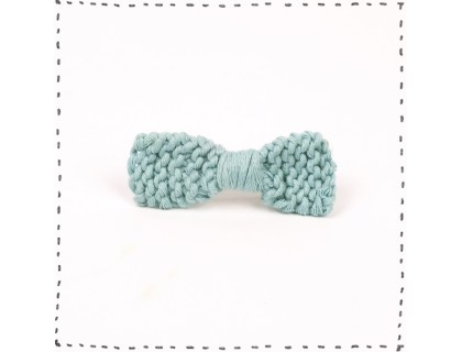 Hair clip knitted bow - sky blue color - made from cotton