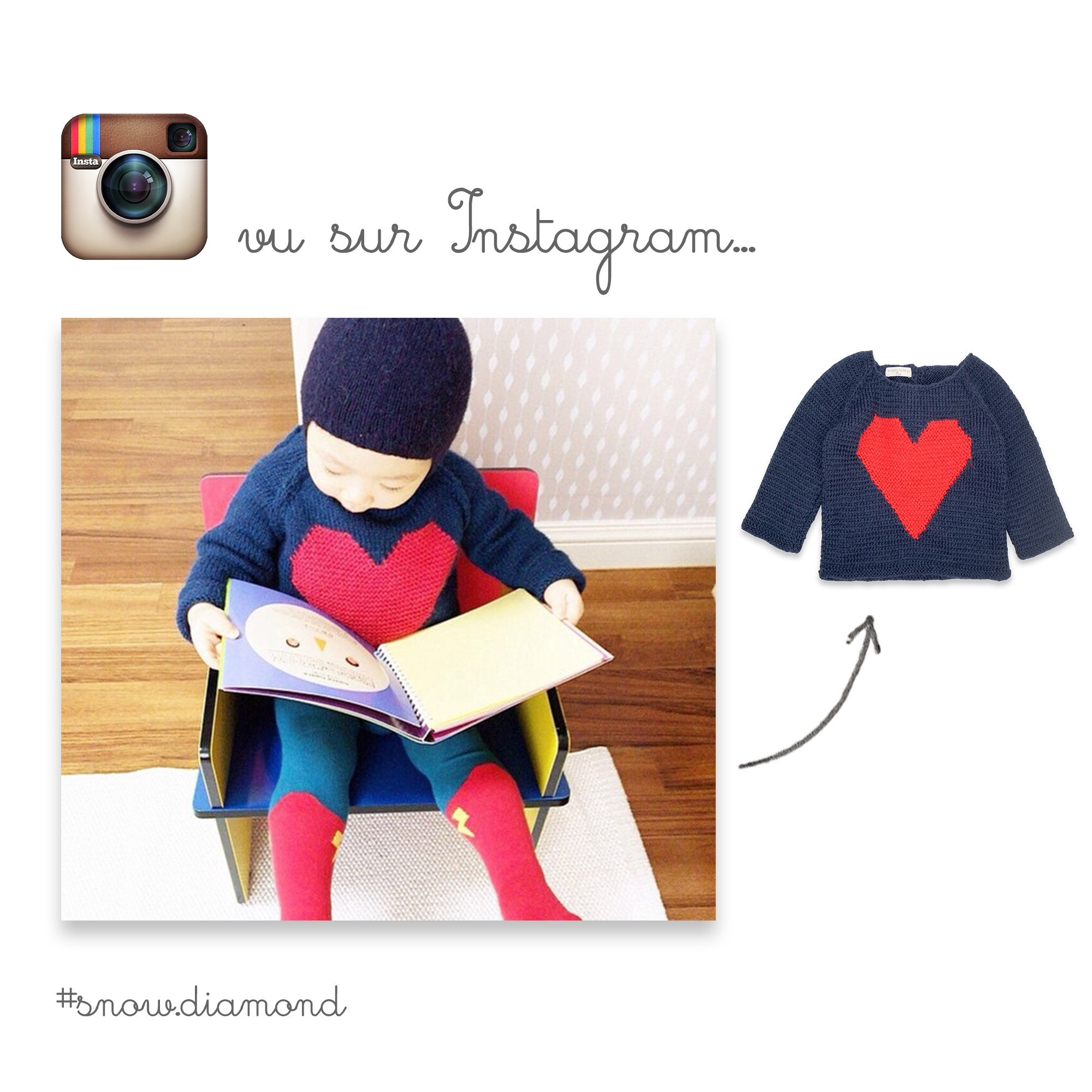 Pull Agénor bleu marine et rouge vu dans Instagram