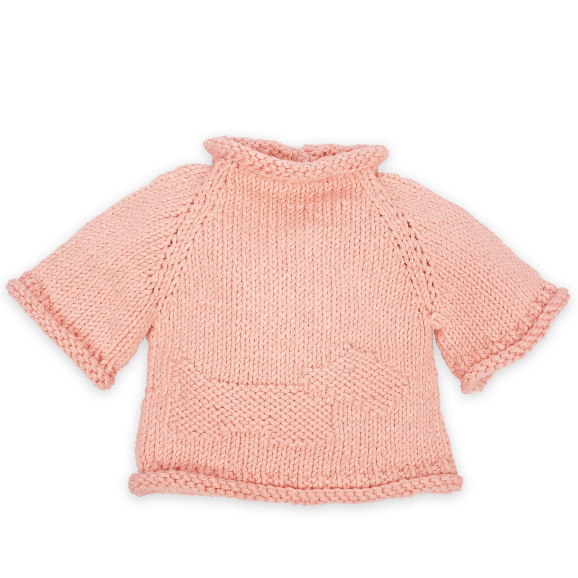 Mamy Factory sweater: dragee pink baby sweater Germain knitted in ...