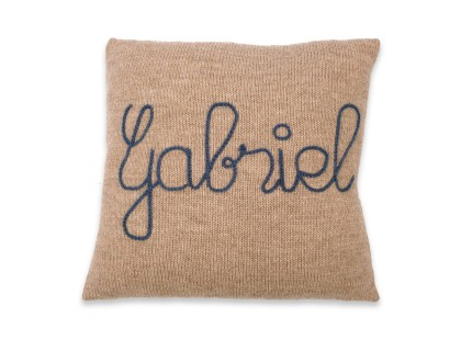 Customizable cushion light brown with bleu embroidery 100% alpaca