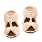 Sandales Jeannette pour bébé - coloris écru - en coton