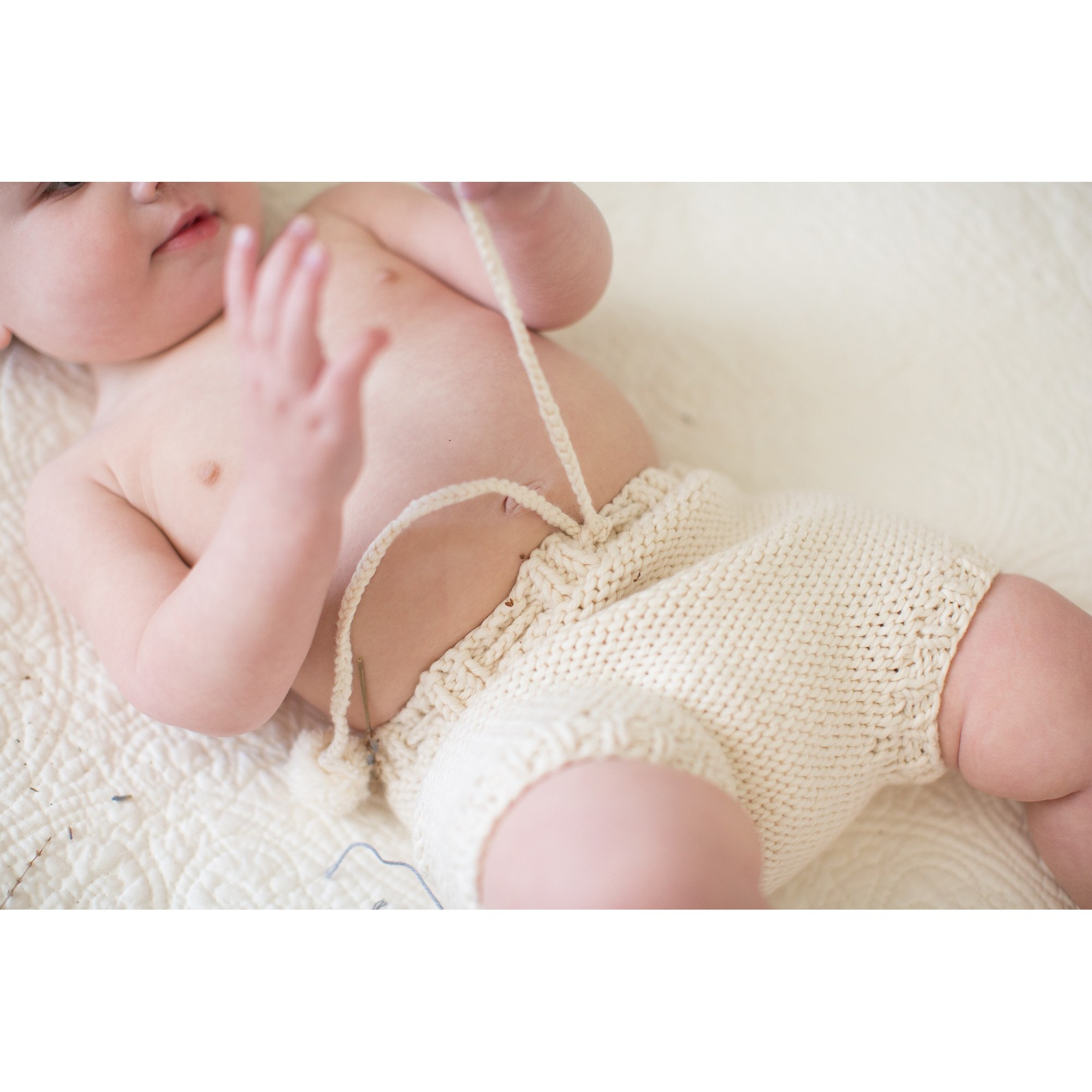 Germain bloomer for baby - made from natural white coton - worn