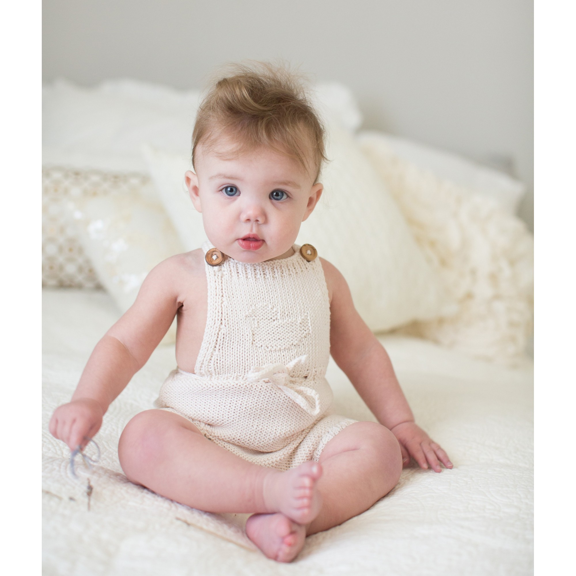 Félicie rompers for baby - made from cotton - natural white color - worn