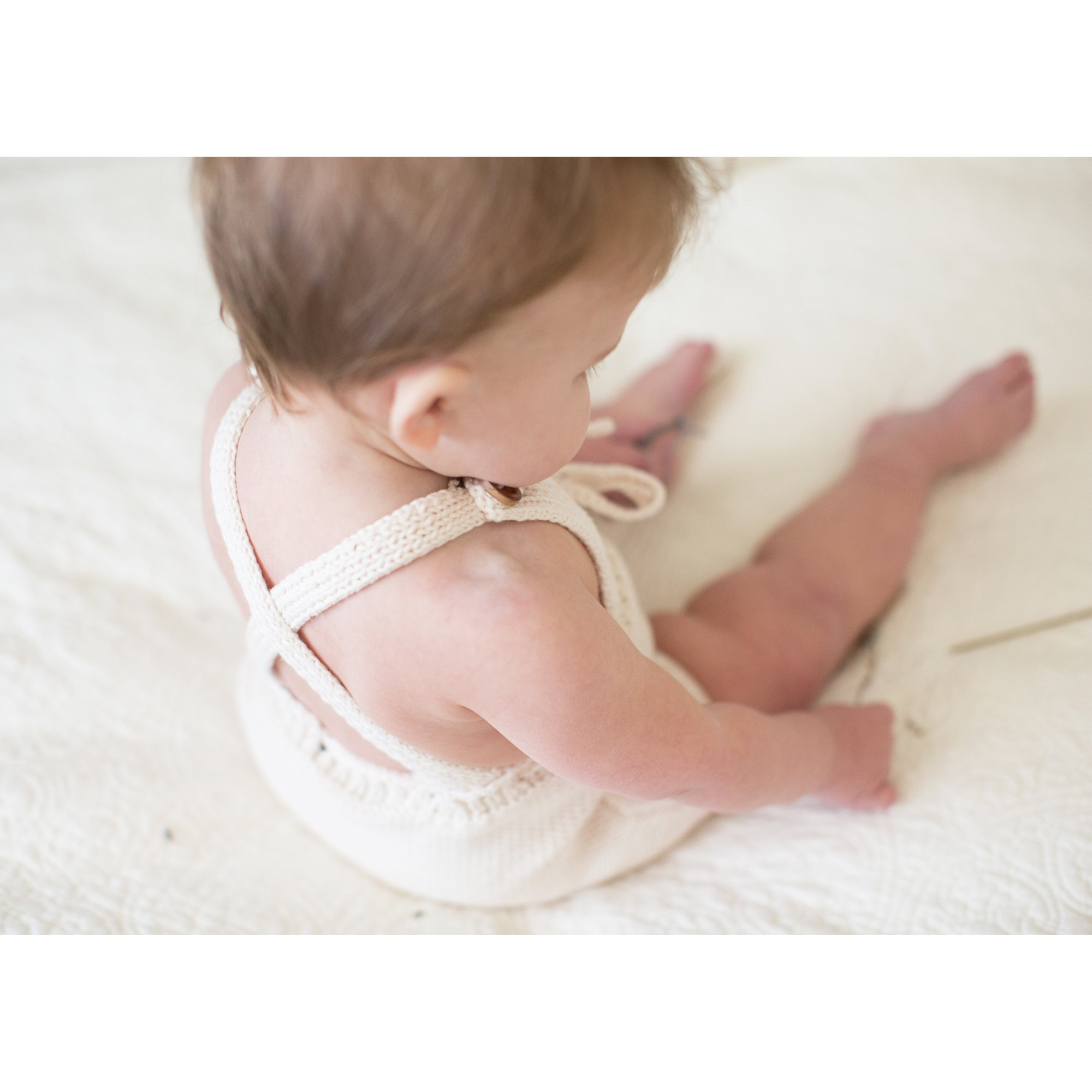 Félicie rompers for baby made from cotton - natural white color - worn