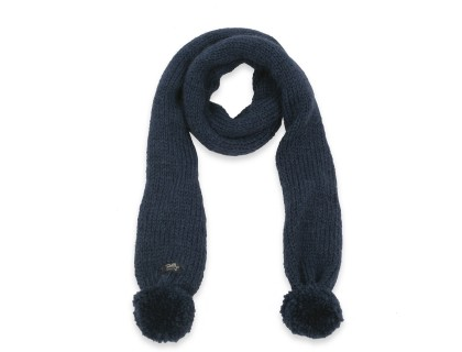Emile scarf for baby - navy blue color - with pom poms