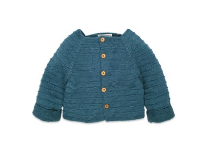 Louis Cardigan for baby - peacock blue - merino wool