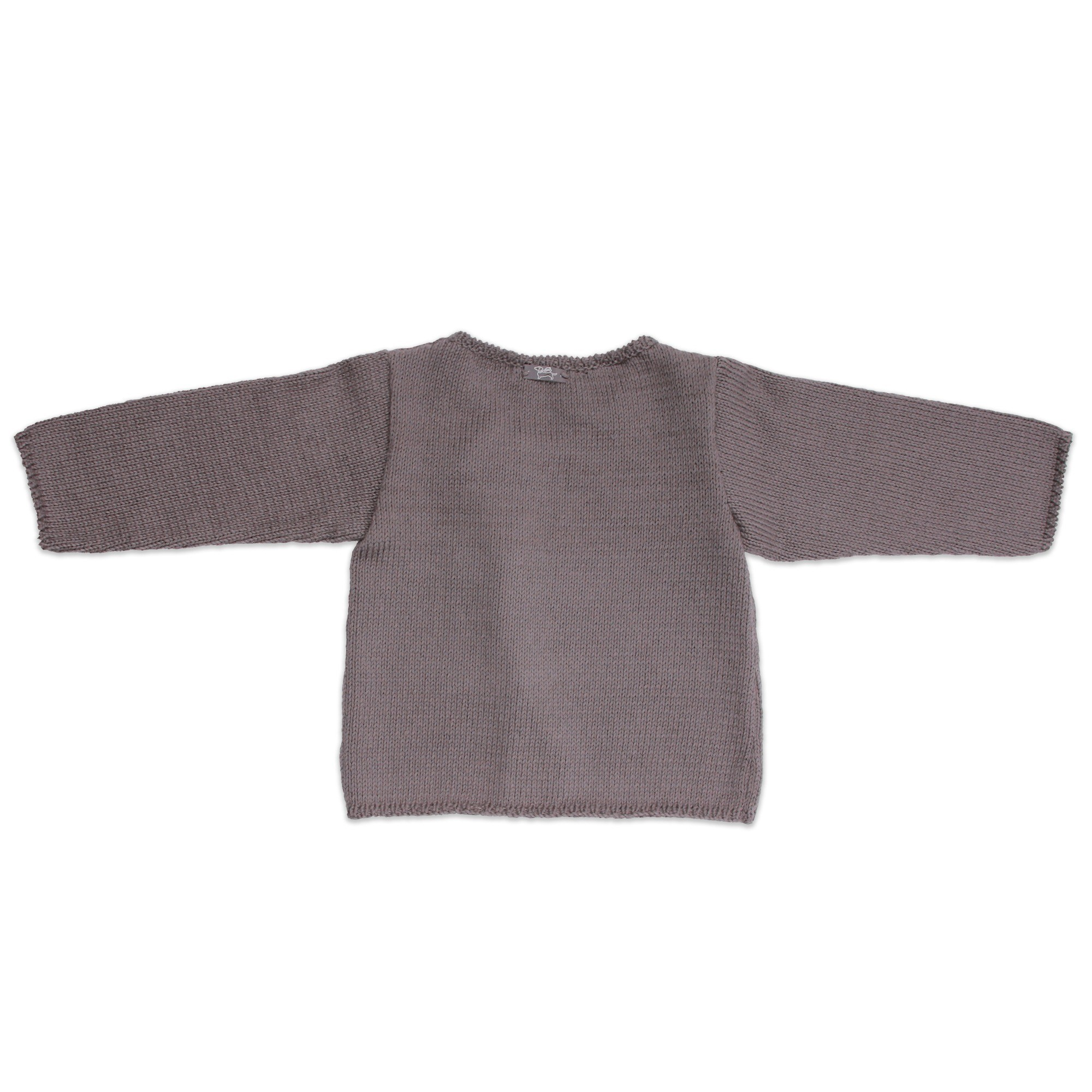 Dark grey baby cardigan knitted in stockinette stitch made from cotton and cashmere yarns -back