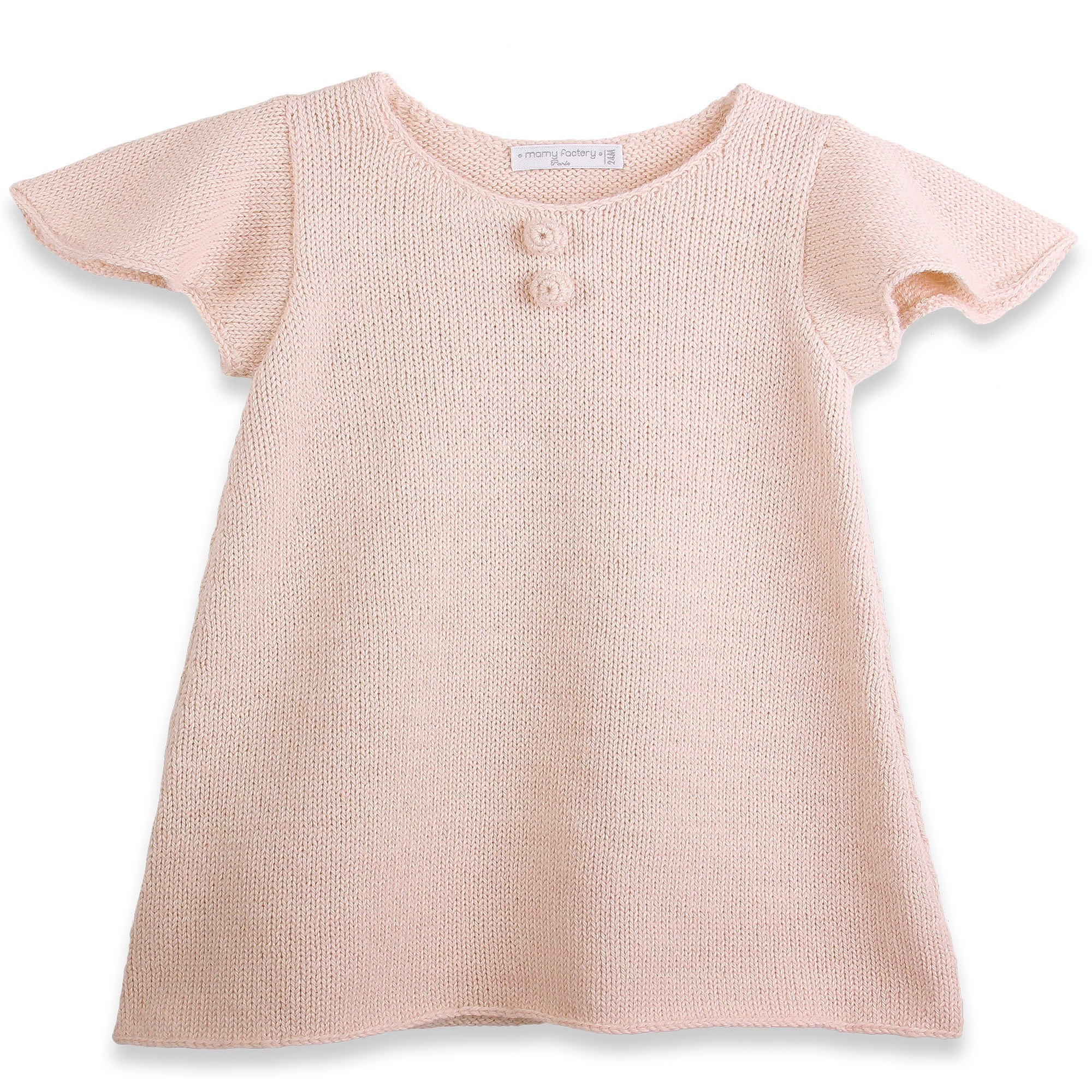 Baby Dress with short and butterfly shaped sleeves made from 100% alpaca pink