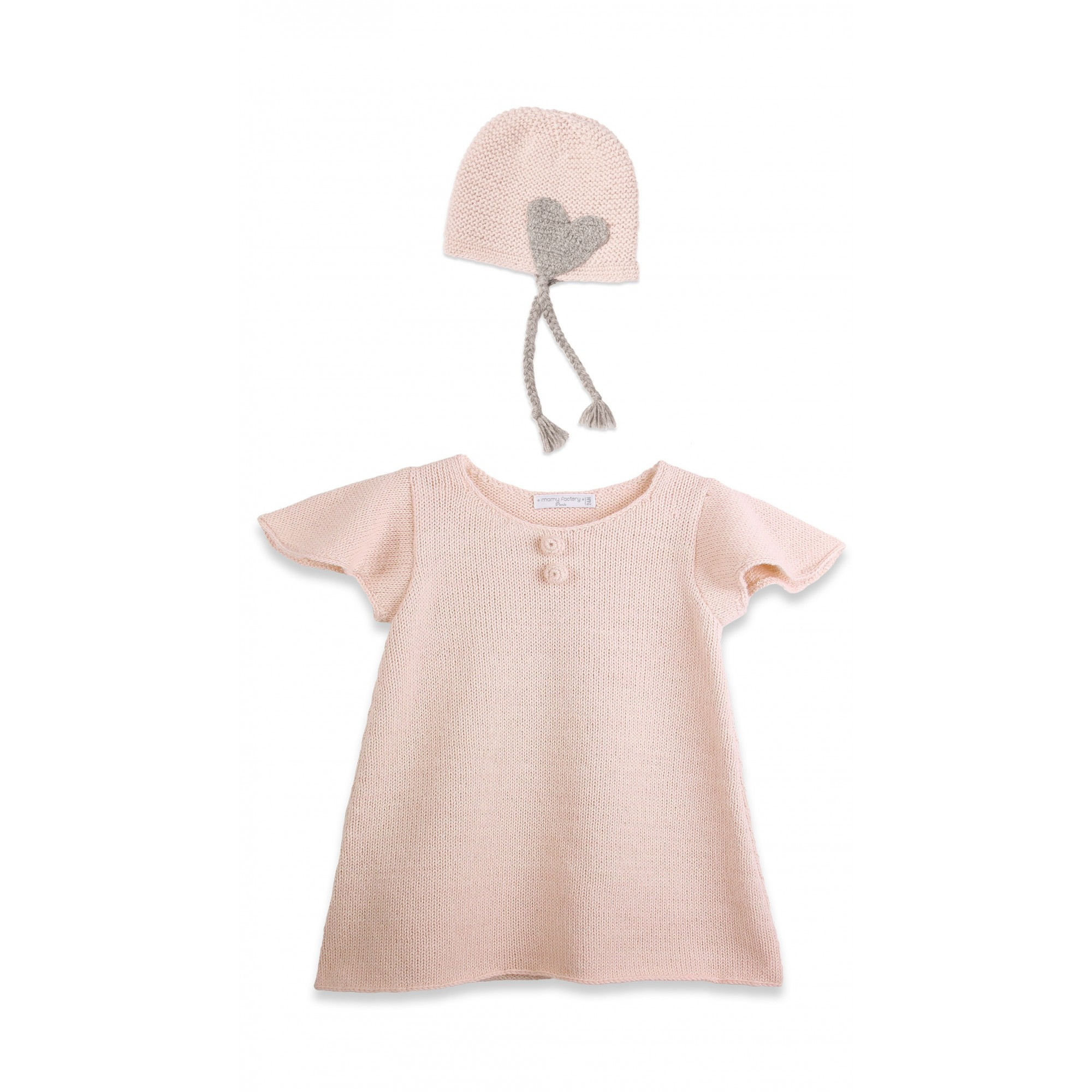 Baby Dress with short and butterfly shaped sleeves and cap made from 100% alpaca pink