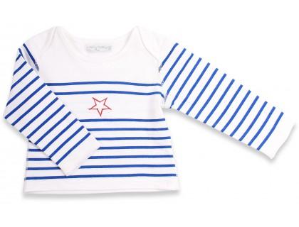 T-shirt manches longues bébé style marinière. Rayures bleue étoile rouge 100% coton