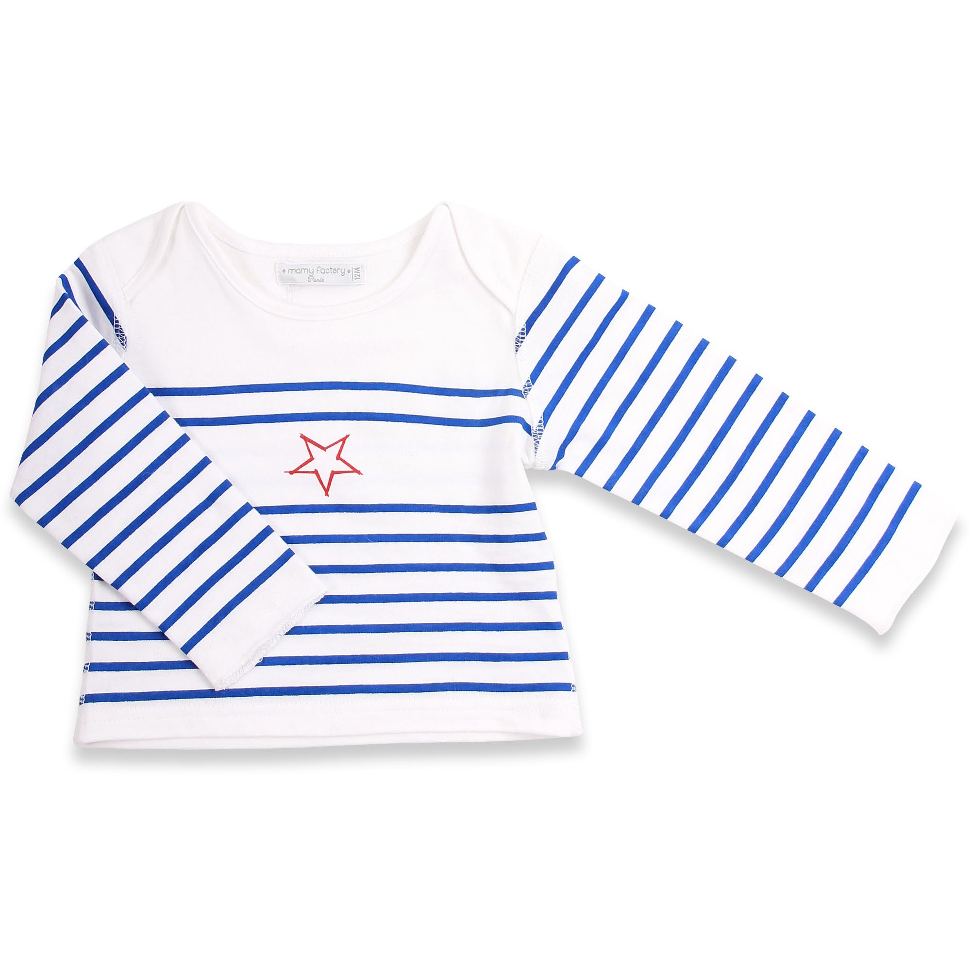 Long sleeves baby T-Shirt with blue stripes and red star 100% soft cotton