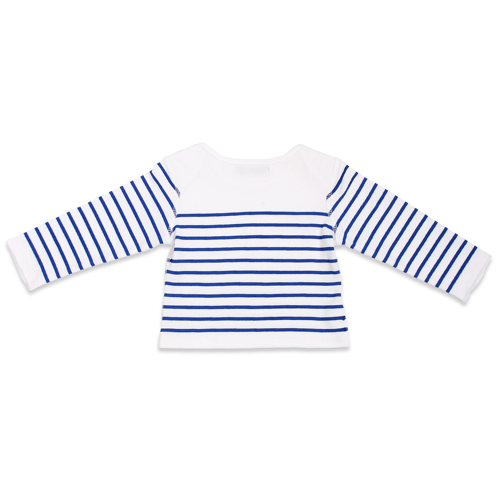 Long sleeves baby T-Shirt with blue stripes and red star 100% soft cotton - back