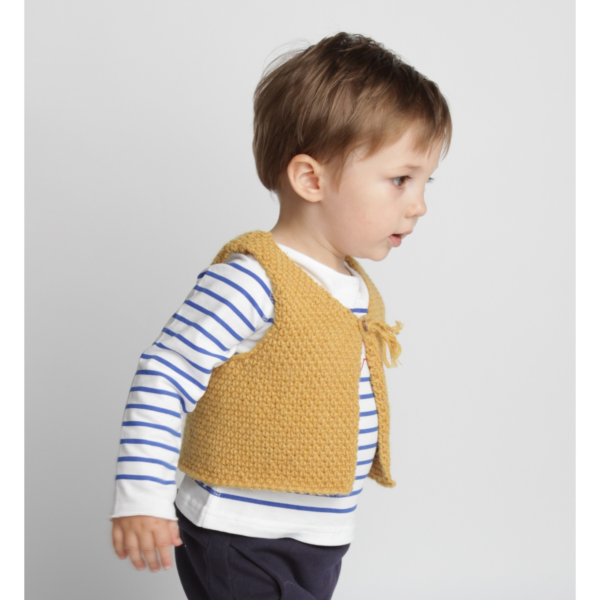 Long sleeves baby T-Shirt with blue stripes and red star 100% soft cotton with yellow sheperd vest made from wool and alpaca