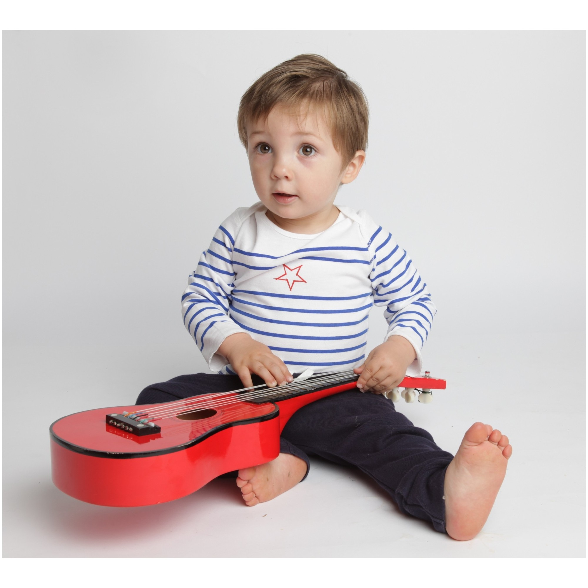 Long sleeves baby T-Shirt with blue stripes and red star 100% soft cotton with navy blue jogging-sarouel