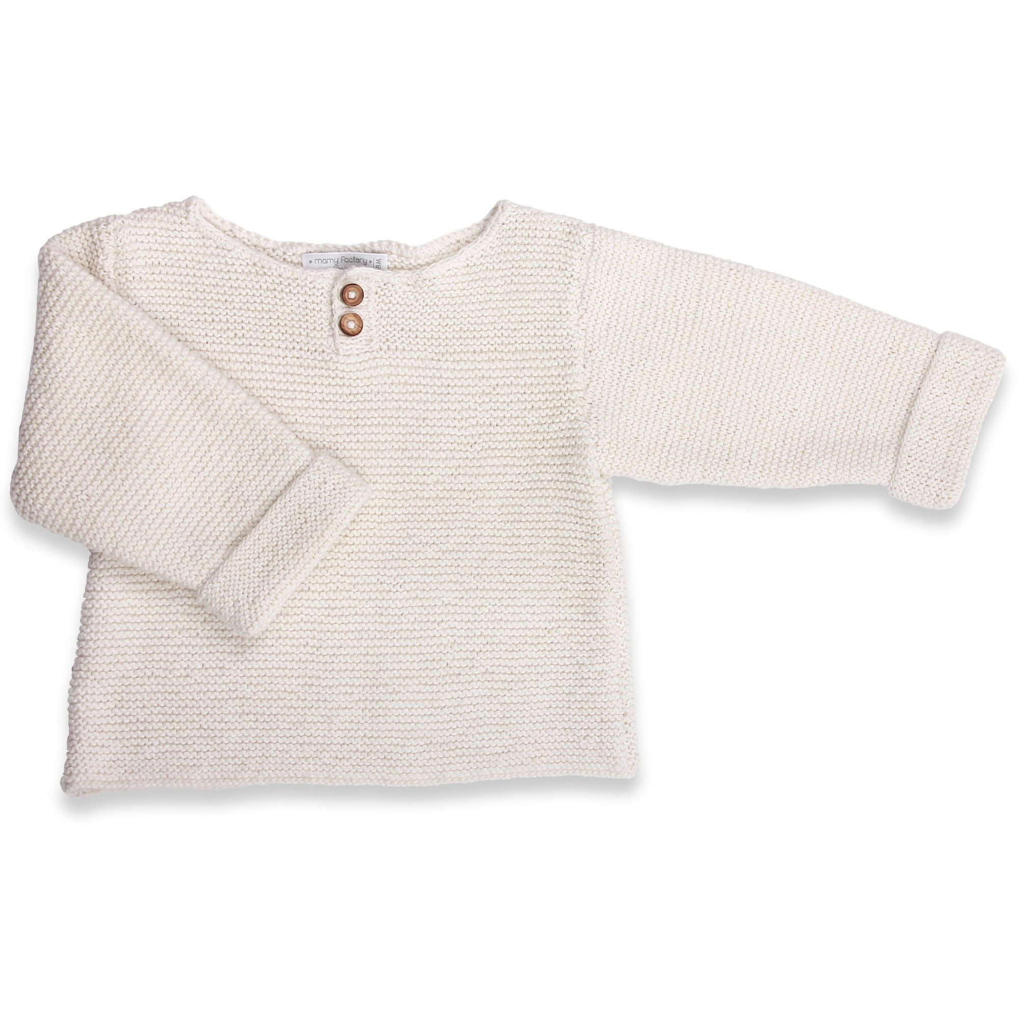 Natural white baby sweater in moss stitch made from cotton and cachemire