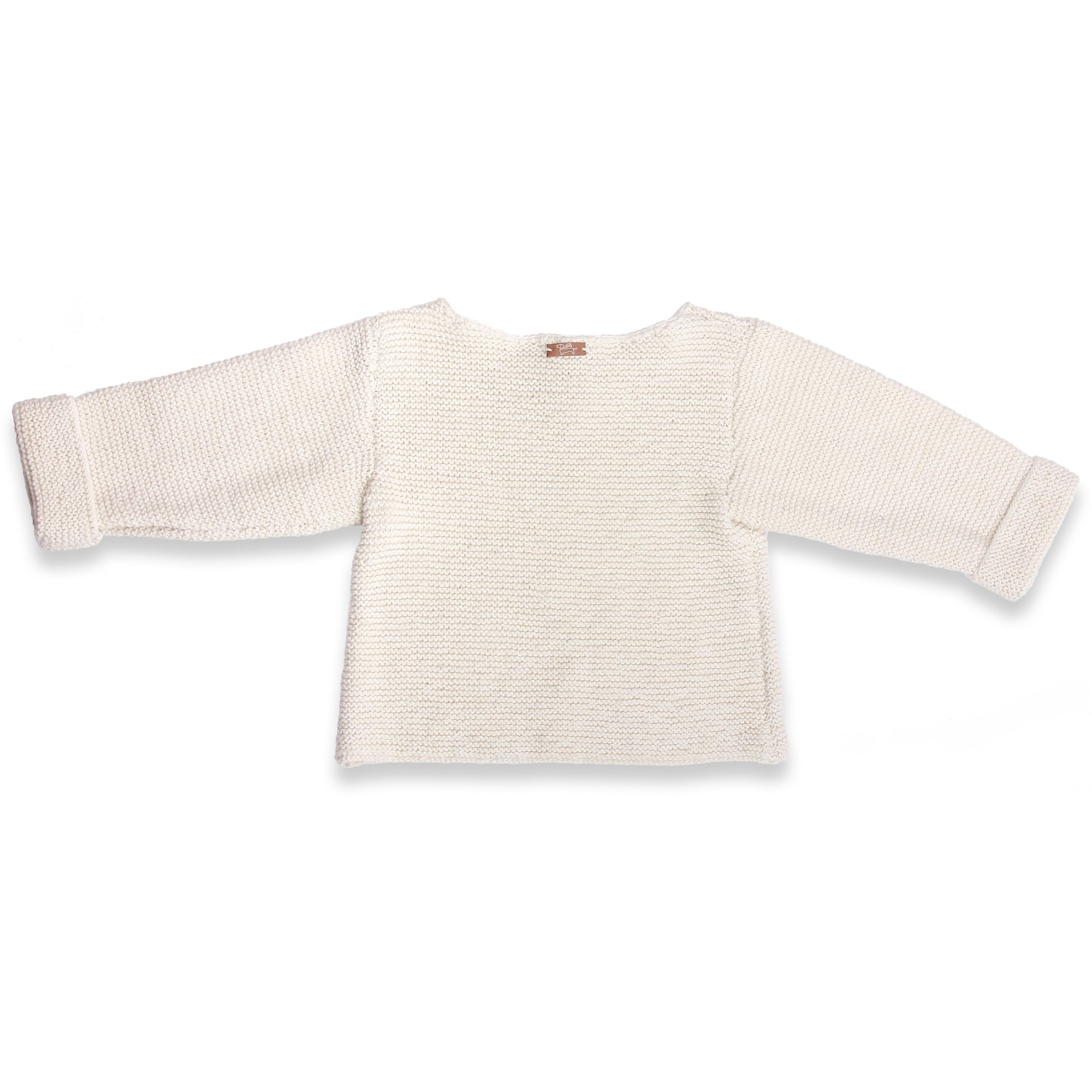 Natural white baby sweater in moss stitch made from cotton and cachemire- back