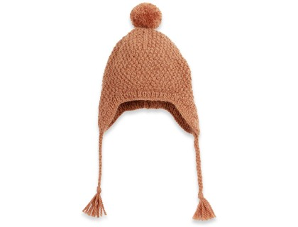 Baby peruvian cap knitted in moss stitch made from wool and alpaca - Camel