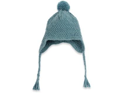 Bonnet bébé bleu pétrole type péruvien en laine et alpaga tricoté au point de blé