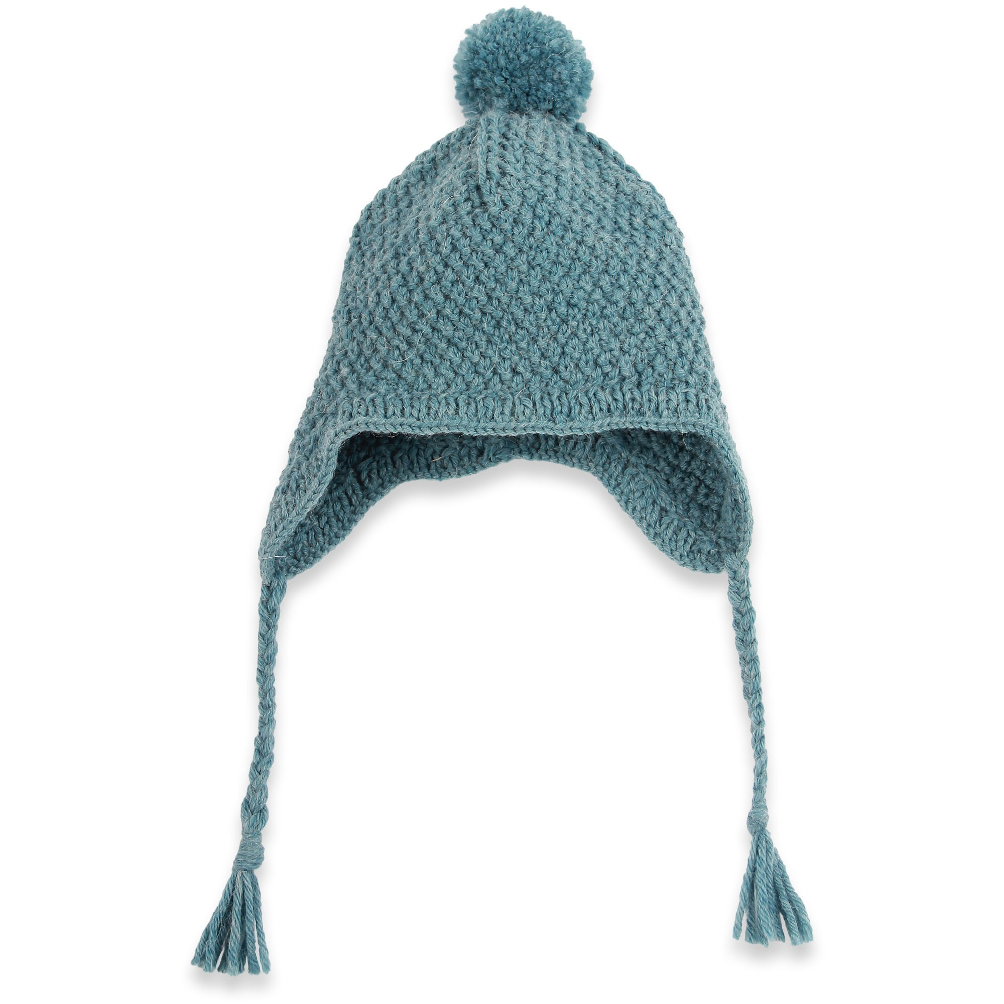 Baby peruvian cap knitted in moss stitch made from wool and alpaca - Petrol blue