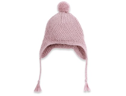 Baby peruvian cap knitted in moss stitch made from wool and alpaca - Light purple