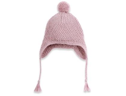 Bonnet bébé mauve type péruvien en laine et alpaga tricoté au point de blé
