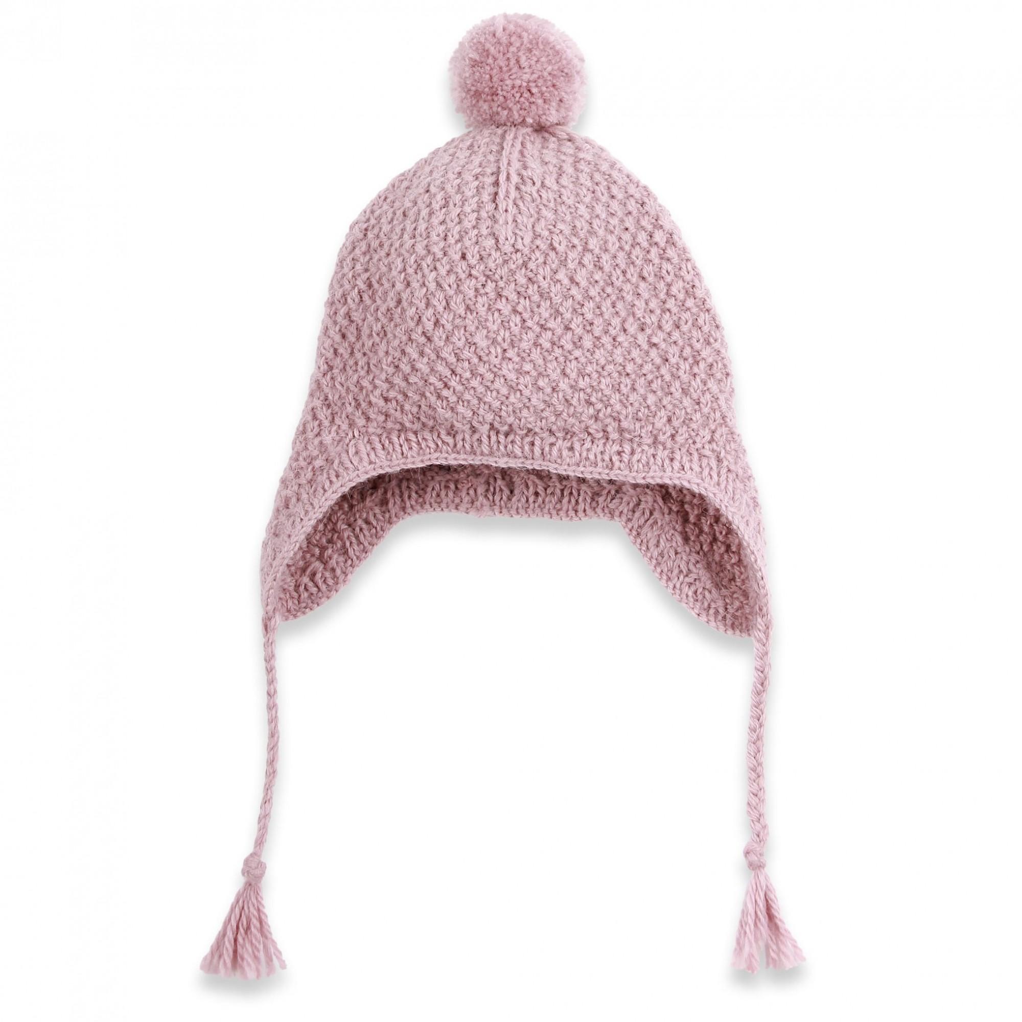 les tricots de mamy bonnet b b fille avec pompom mauve poudr tricot main avec m lange. Black Bedroom Furniture Sets. Home Design Ideas