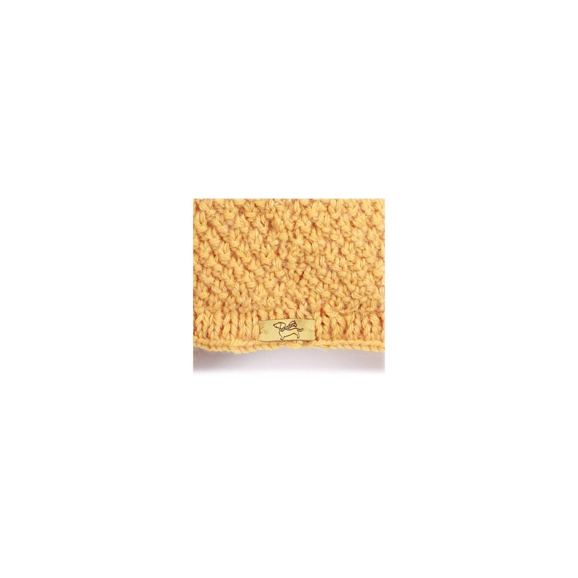 Baby peruvian cap knitted in moss stitch made from wool and alpaca - Yellow - Back