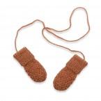 Gants / moufles bébé camel en laine et alpaga tricoté au point de blé