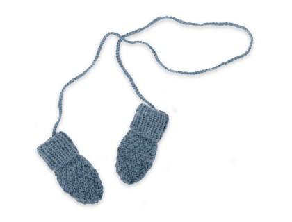 Gants / moufles bébé bleu pétrole en laine et alpaga tricoté au point de blé