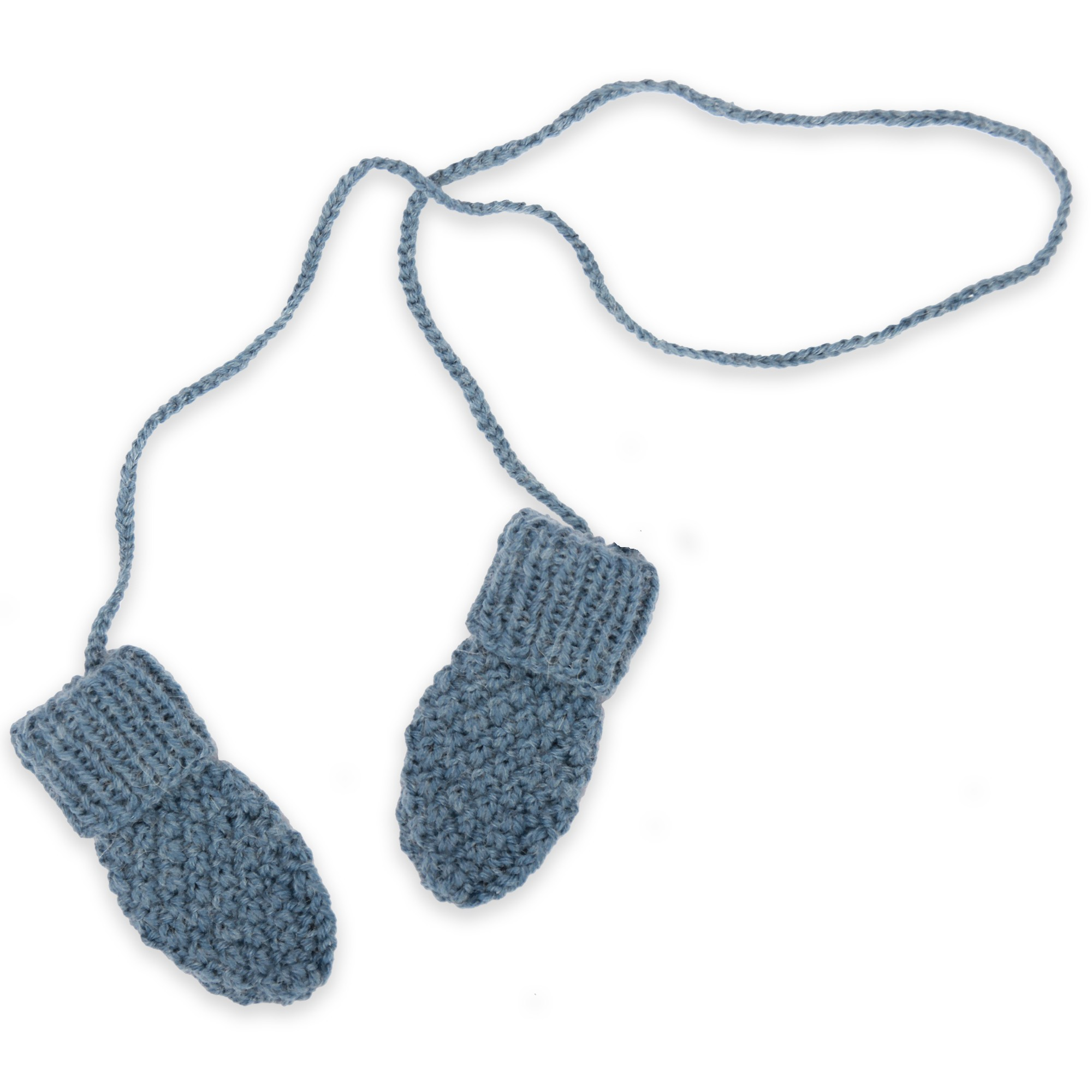Baby mittens / gloves knitted in moss stitch made from wool and alpaca - Petrol blue