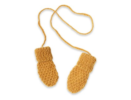 Gants / moufles bébé jaune en laine et alpaga tricoté au point de blé