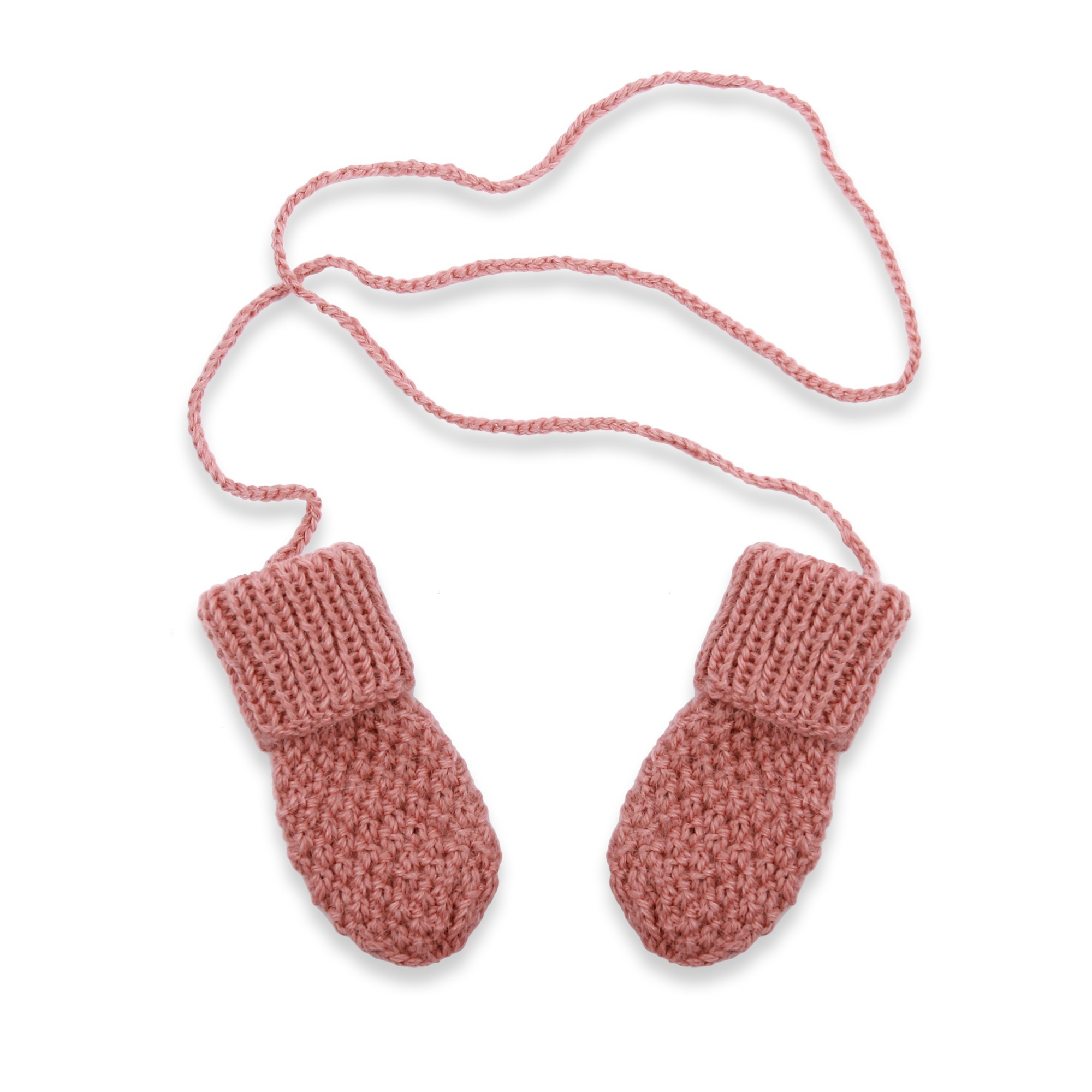Baby mittens knitted in moss stitch made from wool and alpaca - Old pink