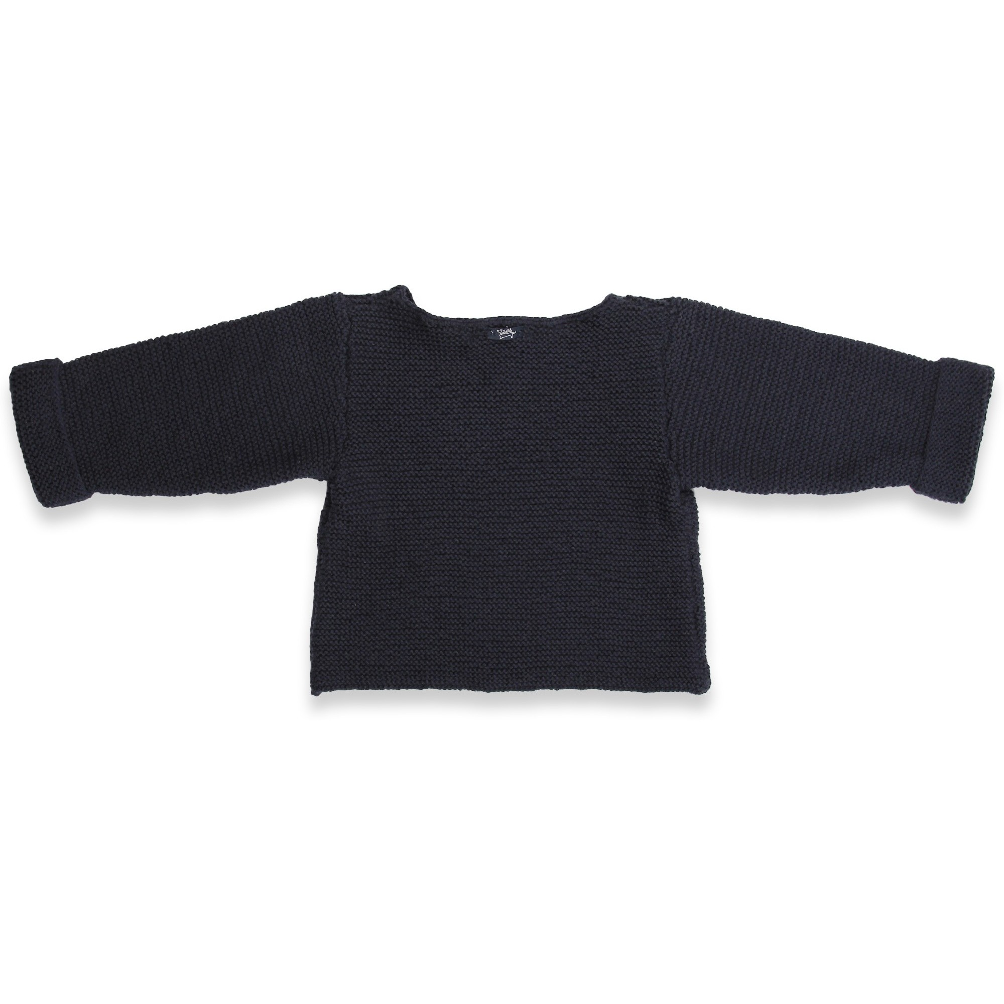 Navy blue baby sweater knitted in moss stitches made from cotton and cachemire
