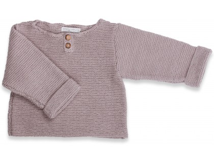 Taupe baby sweater knitted in moss stitches made from cotton and cashmere
