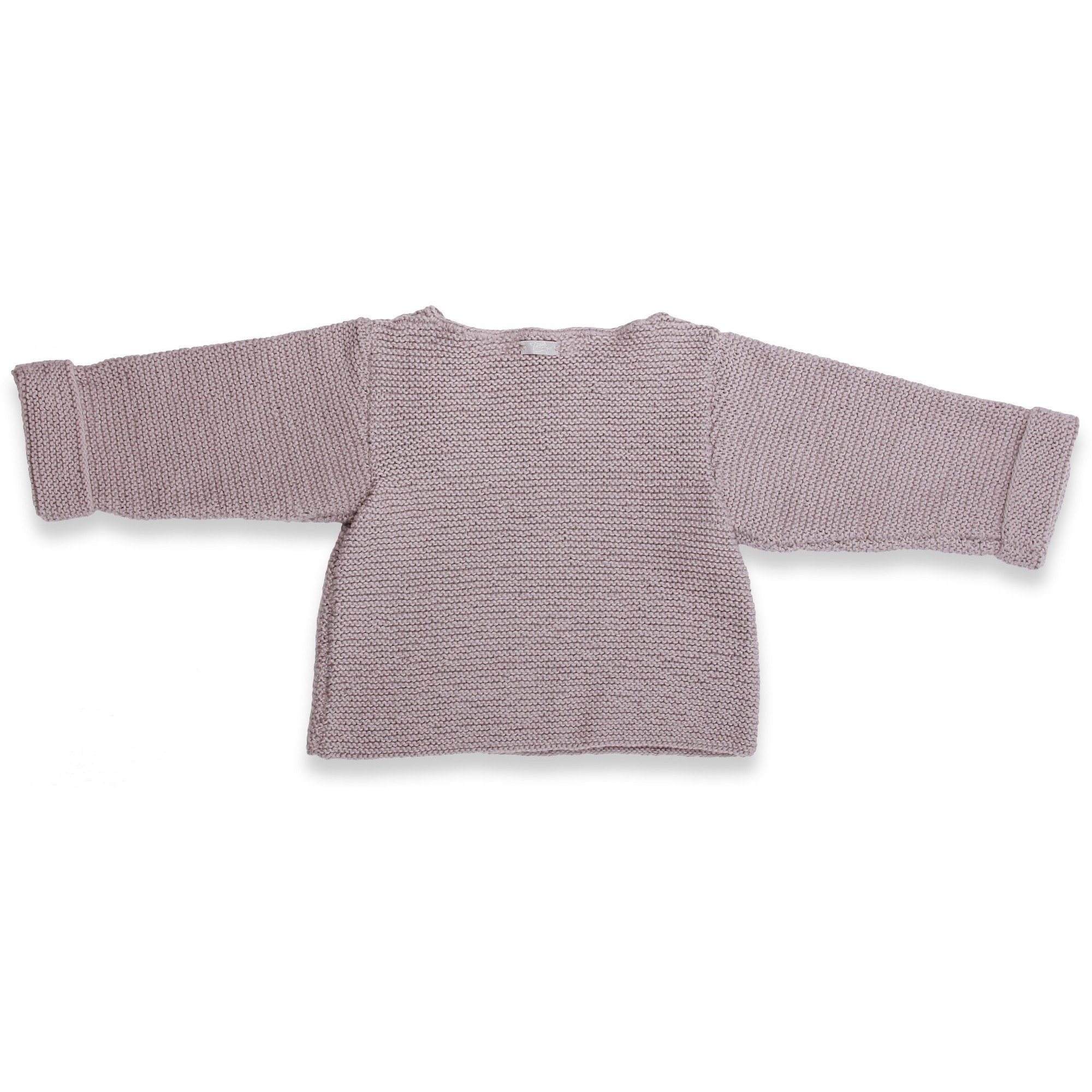 Grey baby sweater knitted in moss stitches made from cotton and cashmere - back