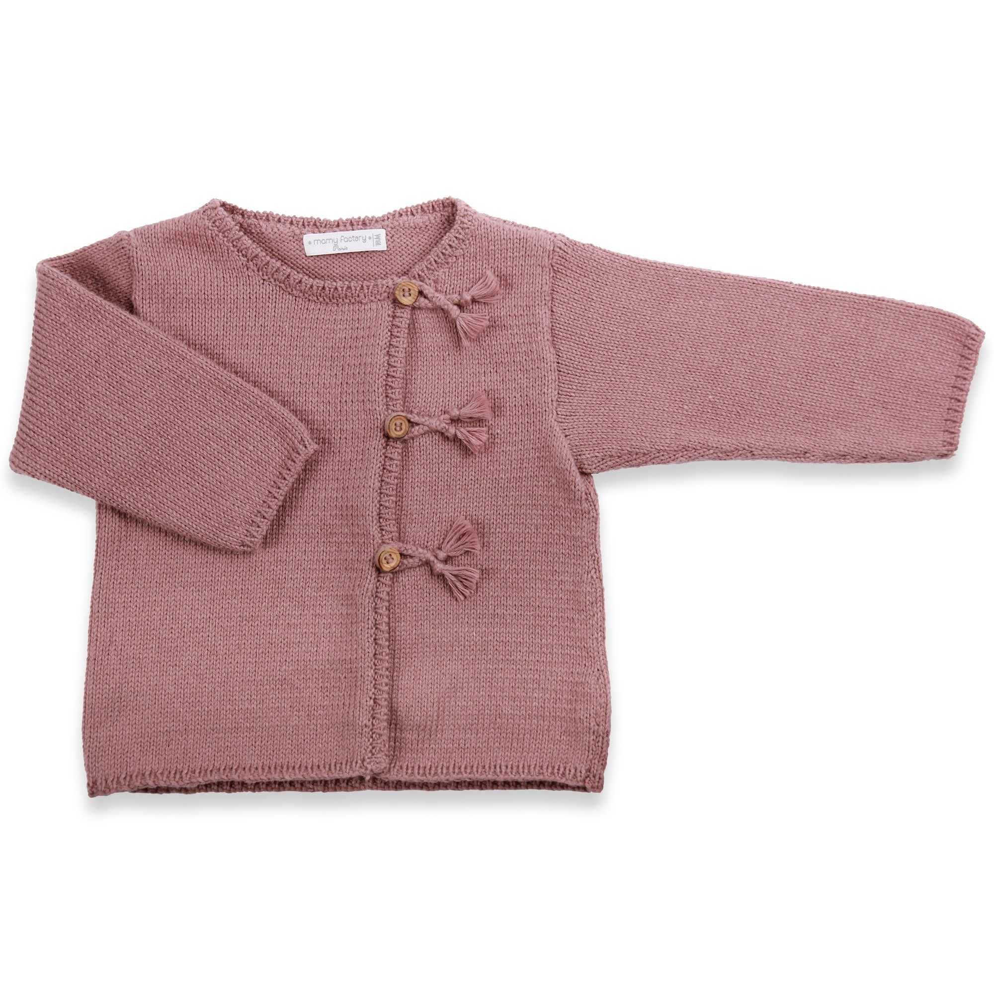 Taupe baby cardigan knitted in stockinette stitch made from cotton and cashmere yarns