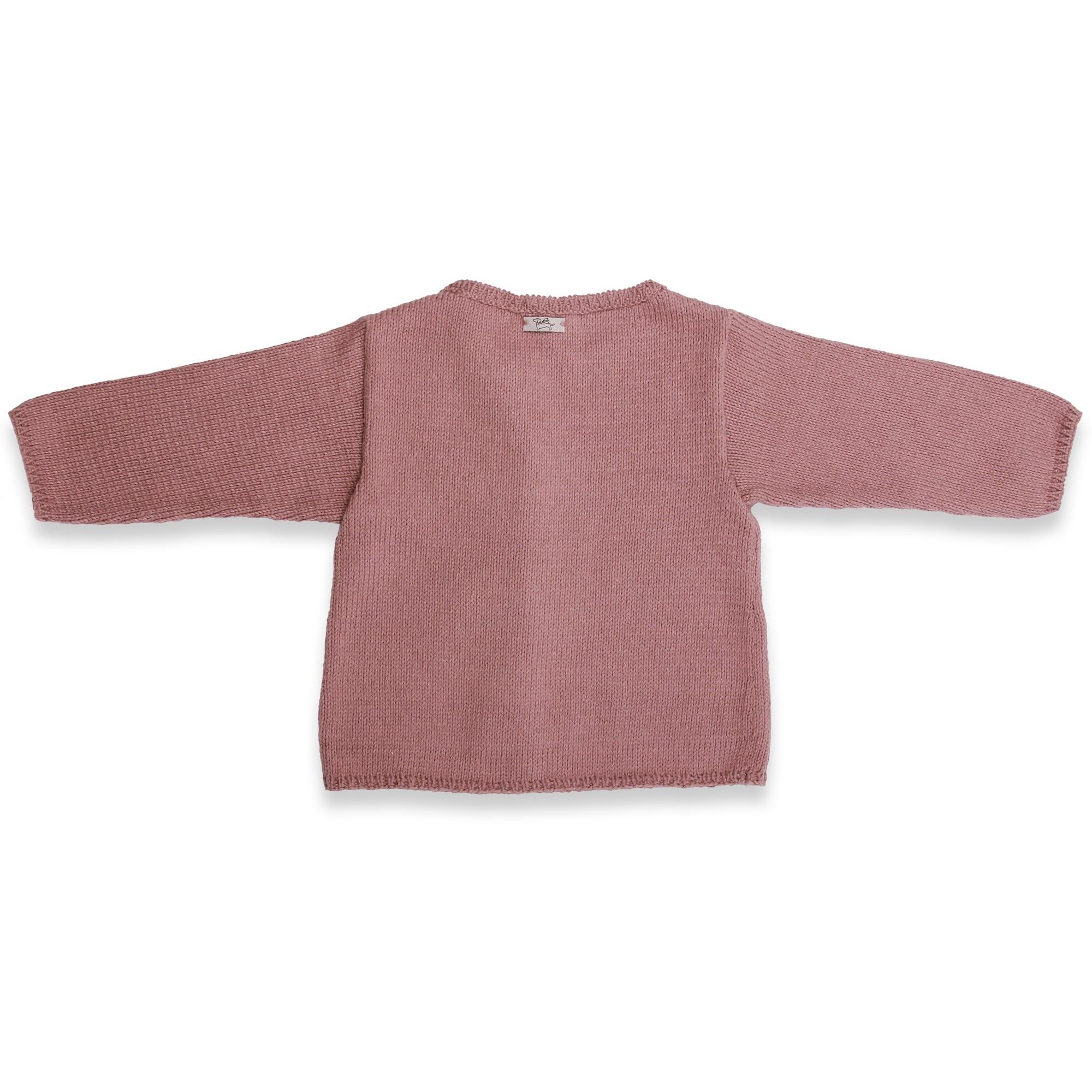 Gilet bébé taupe en coton et cachemire avec boutons bois tricoté en point jersey - dos