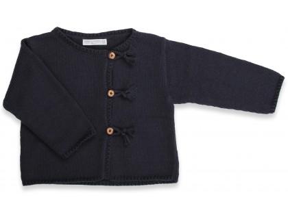 Gilet  bébé marine en coton et cachemire avec boutons bois tricoté au point jersey