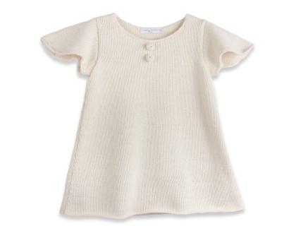 Robe bébé manches courtes papillon en laine d'alpaga écru