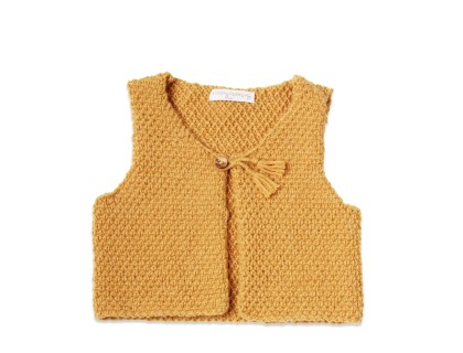Yellow baby sheperd vest made from wool and alpaca with wood buttons