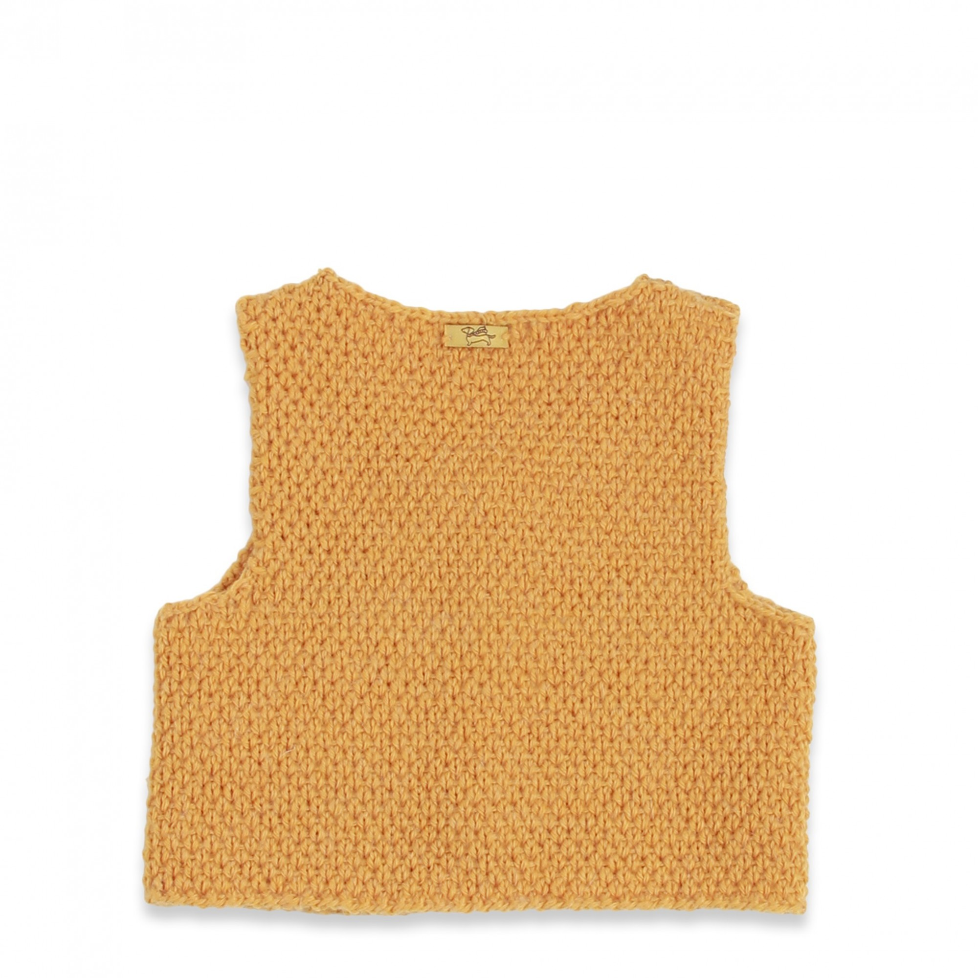 Yellow baby sheperd vest made from wool and alpaca with wood buttons - back