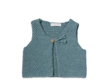 Gilet de berger bébé bleu pétrole en laine et alpaga avec bouton bois