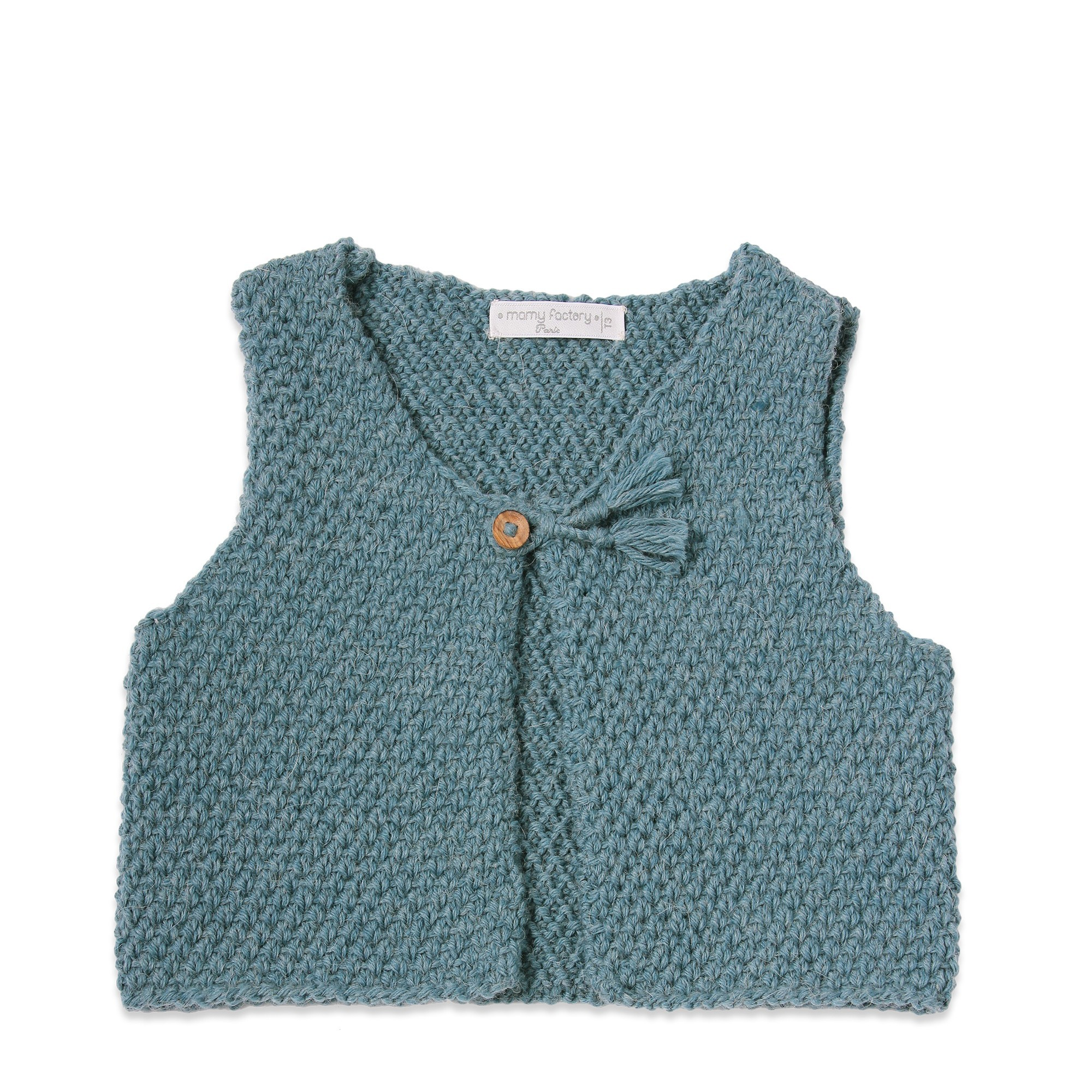 Petrol blue baby sheperd vest made from wool and alpaca with wood buttons