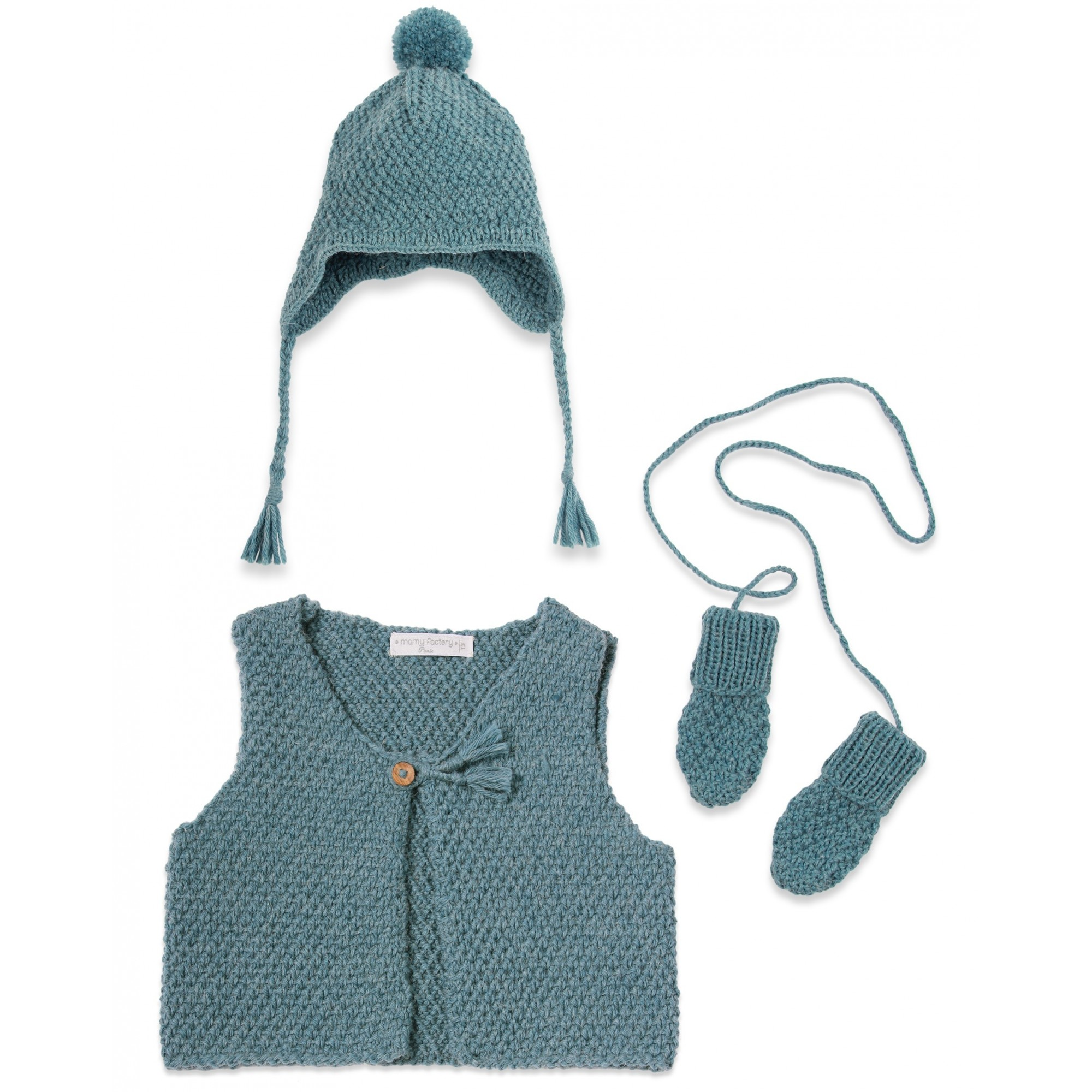 Petrol blue baby sheperd vest, mittens and cap made from wool and alpaca with wood buttons