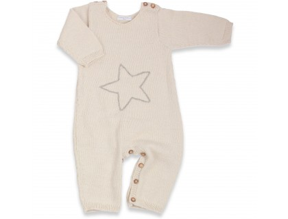 Natural white baby playsuit made from 100% alpaca yarn