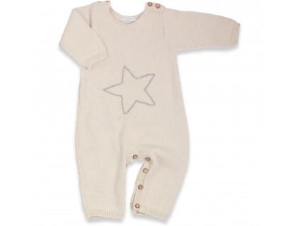 Combinaison bébé en 100% laine d'alpaga écru avec boutons bois