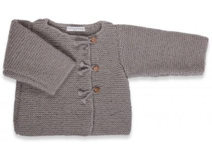 Gilet bébé laine et mohair avec boutons bois, gris