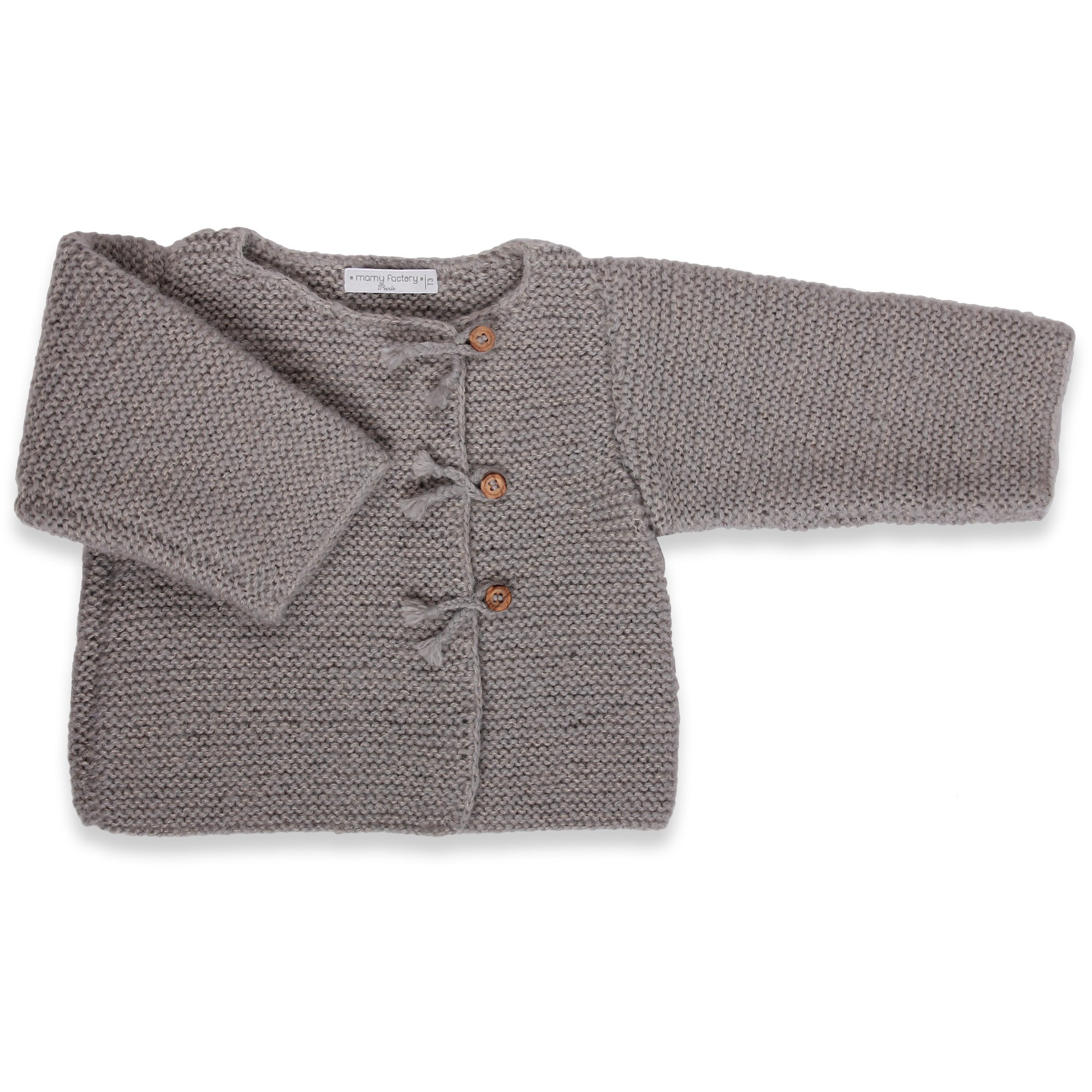 Grey baby cardigan with wood buttons made from wool and mohair